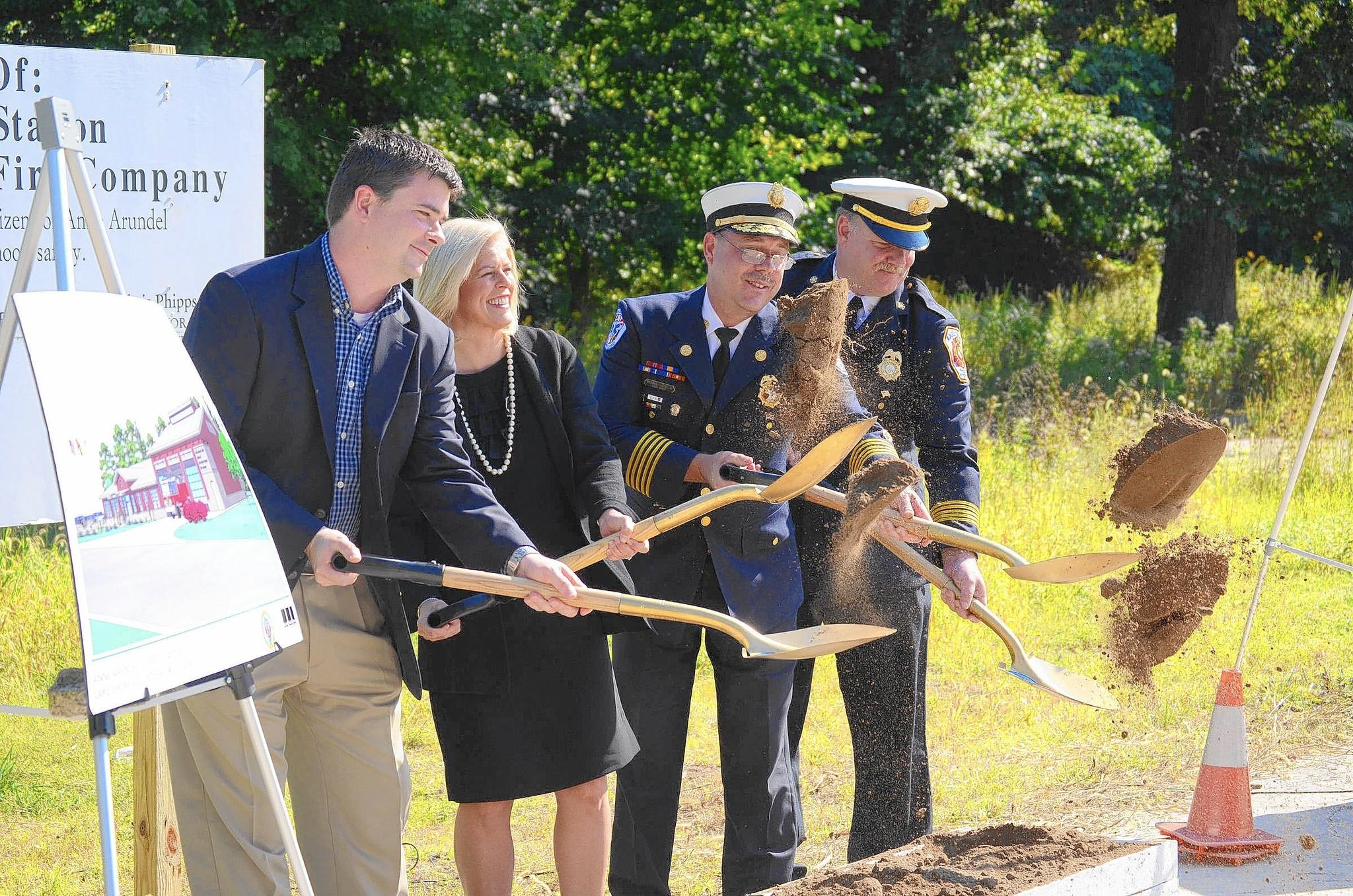 Anne Arundel County officials hold a ceremonial groundbreaking at the future site of a fire station in the Lake Shore community of Pasadena on Tuesday including, from left, County Councilman Derek Fink, County Executive Laura Neuman, county Fire Chief Michael Cox and Lake Shore Volunteer Fire Company Chief Timothy Hall.
