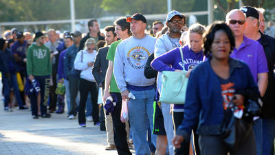 Fans line up to turn in their Ray Rice jerseys at M&T Bank Stadium