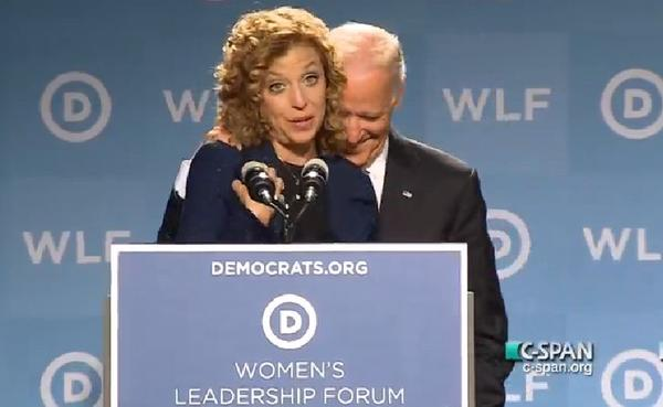 U.S. Rep. Debbie Wasserman Schultz, of Weston, chairwoman of the Democratic National Committee, and Vice President Joe Biden at a Democratic Party gathering on Sept. 19, 2014.
