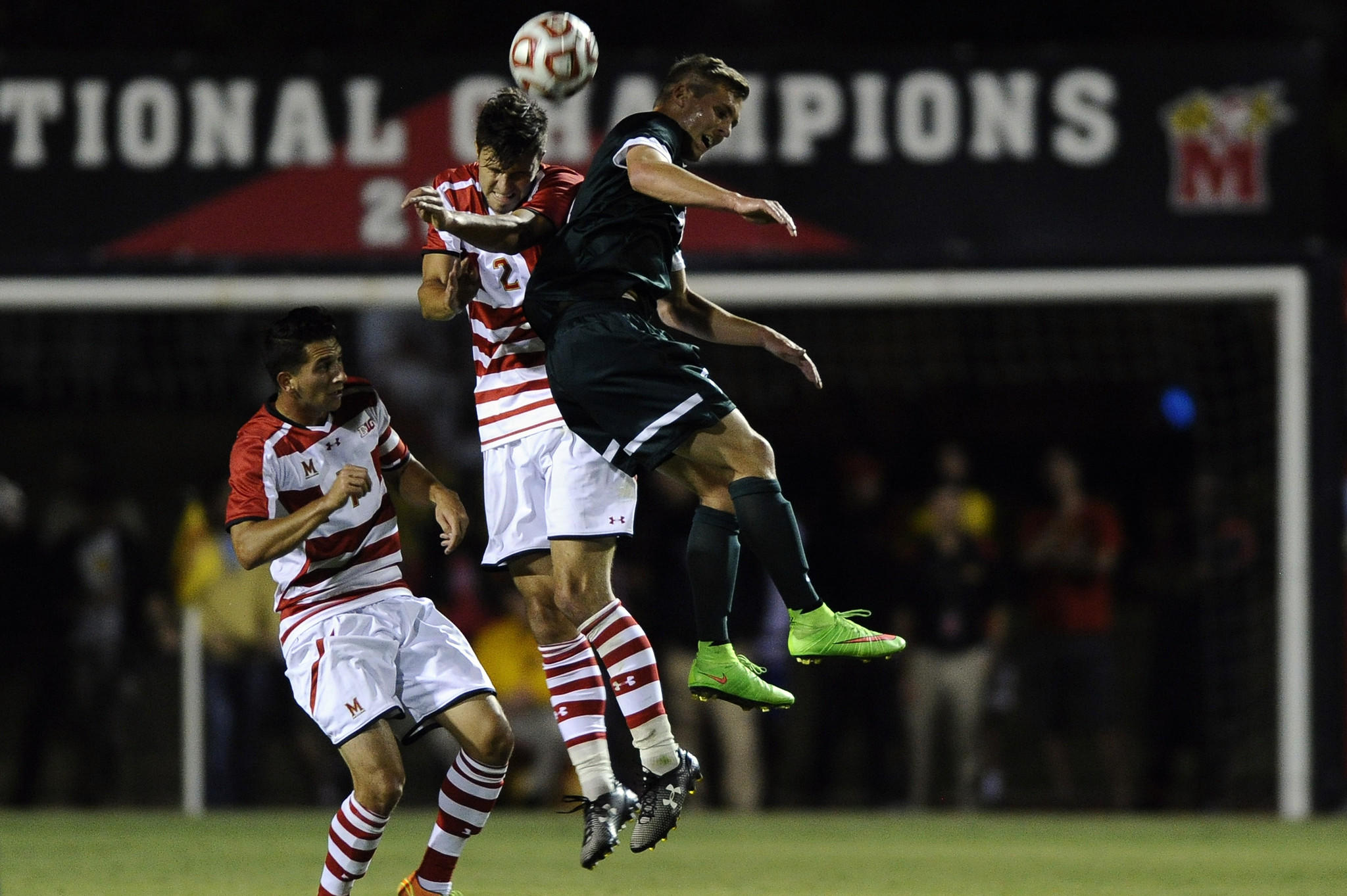 Alex Crognale (2) leaps for a header against Michigan State in the Terps' 1-0 loss Friday at Ludwig Field.