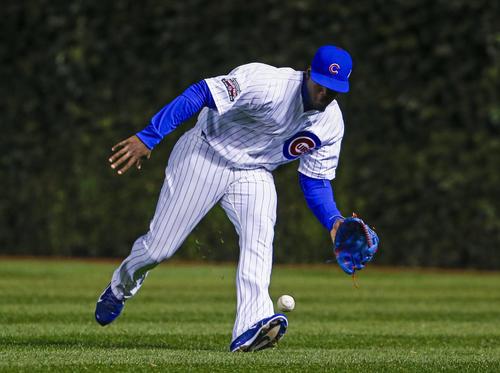 Cubs outfielder Jorge Soler fields an RBI single by St. Louis' Matt Holliday in the fifth inning.