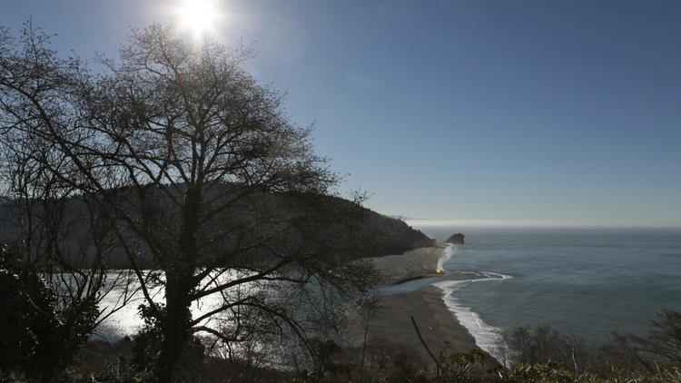 The Klamath River and the Pacific Ocean