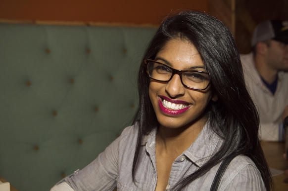 Sonia Mathai, 21, student<br><bR> <b>What brings you out tonight?</b> I just moved to the city a month ago from Dallas, Texas. I'm out just trying to meet new people.<Br> <b>What are you drinking and why?</b> I'm drinking Coke because I don't like alcohol. It's gross to me.<br> <b>Is that your go-to non-alcoholic bar drink or do you get a fancy mocktail from time to time?</b> Sometimes I'll switch it up if I'm feeling crazy, like Pepsi or something. Sometimes with a cherry.<br> <b>What was your summer like?</b> I went to San Diego babysitting my sister while my mom was at a conference. I just went to the beach and the gym. <b>Any idea about Halloween yet?</b> I might be Princess Jasmine, I don't know. My family didn't really celebrate it, so we'll see.