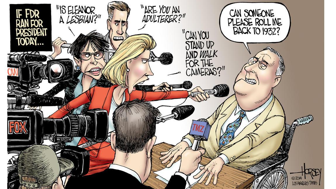 Editorial cartoon: If FDR ran today...