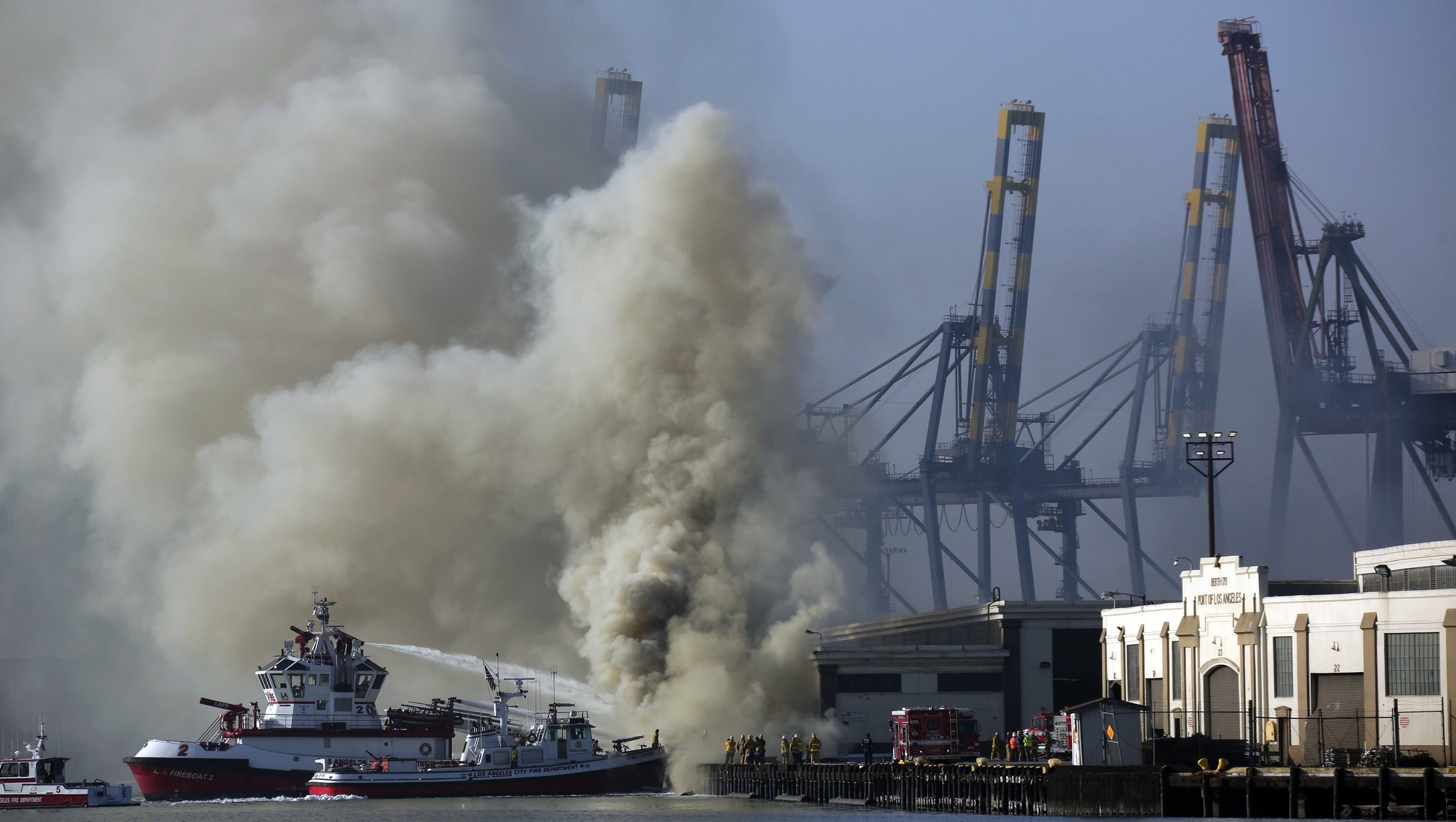 port of los angeles operations to resume  fire nearly