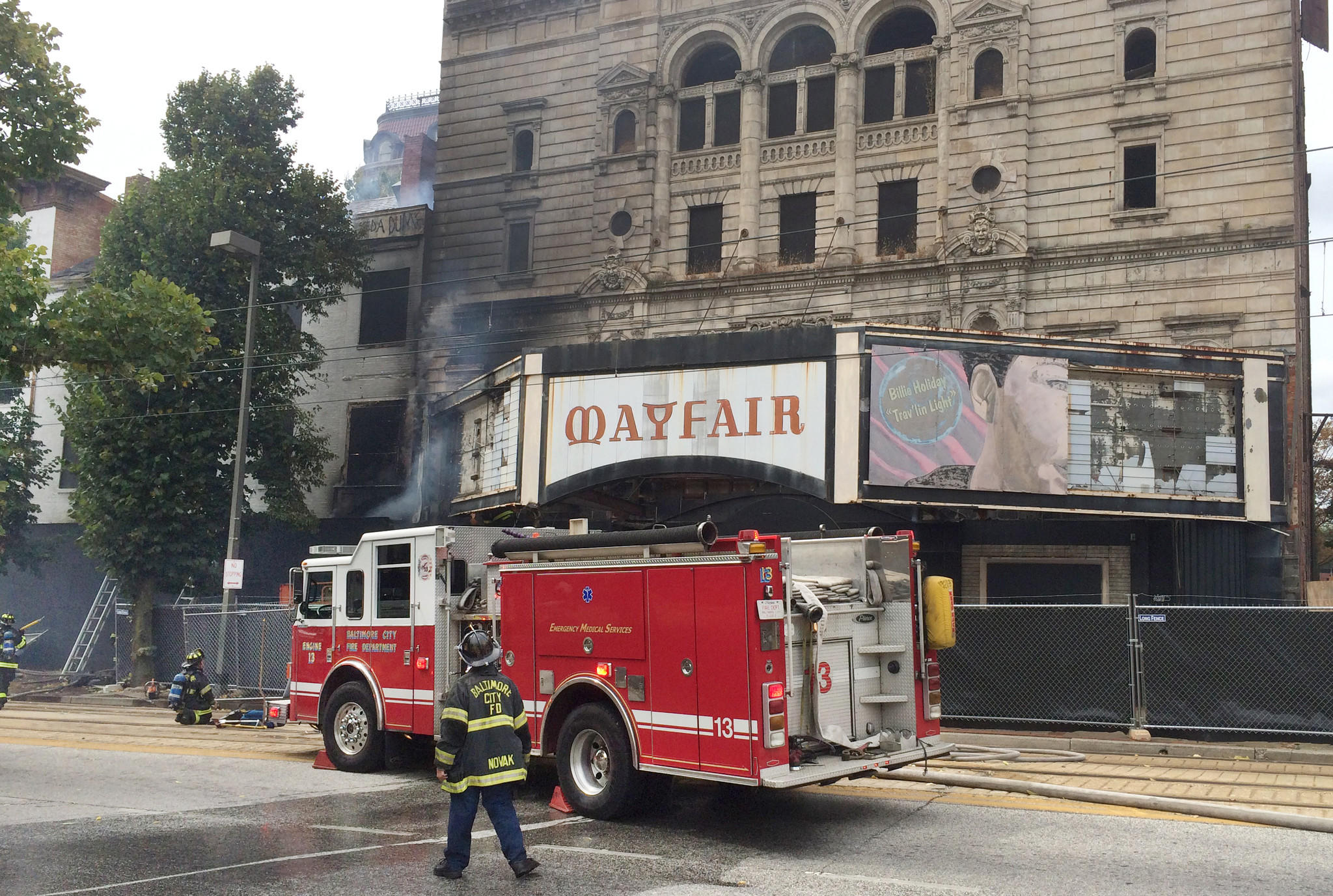 Working fire adjacent to the Mayfair Theatre