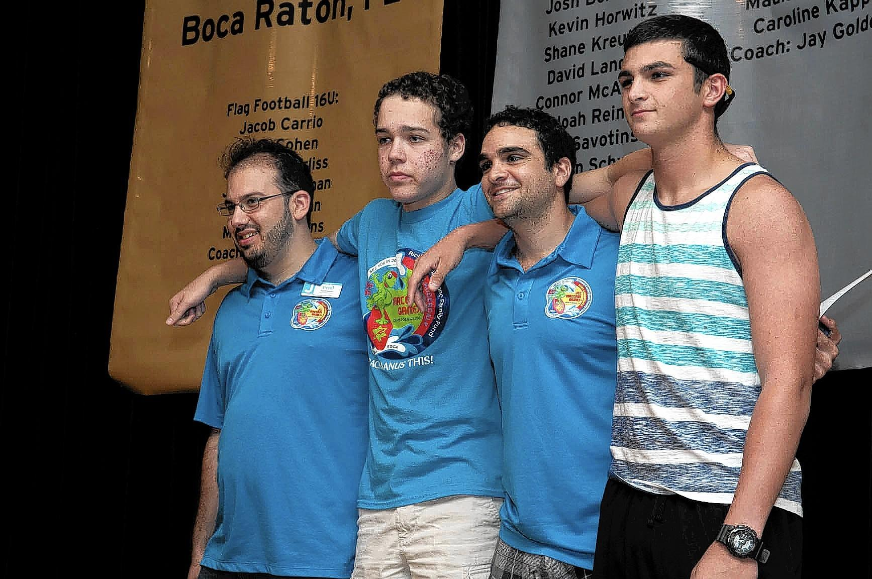 Winners of the Midot Medal David Sopshin, Jeffrey Sehour, Abraham Mercado, and Cole Perler, during The David Posnack Jewish Community Center, host of the 2015 JCC Maccabi Games and ArtsFest, invited all age-eligible Broward County athletes and artists to attend an informational kick-off event on Sunday, September 14.