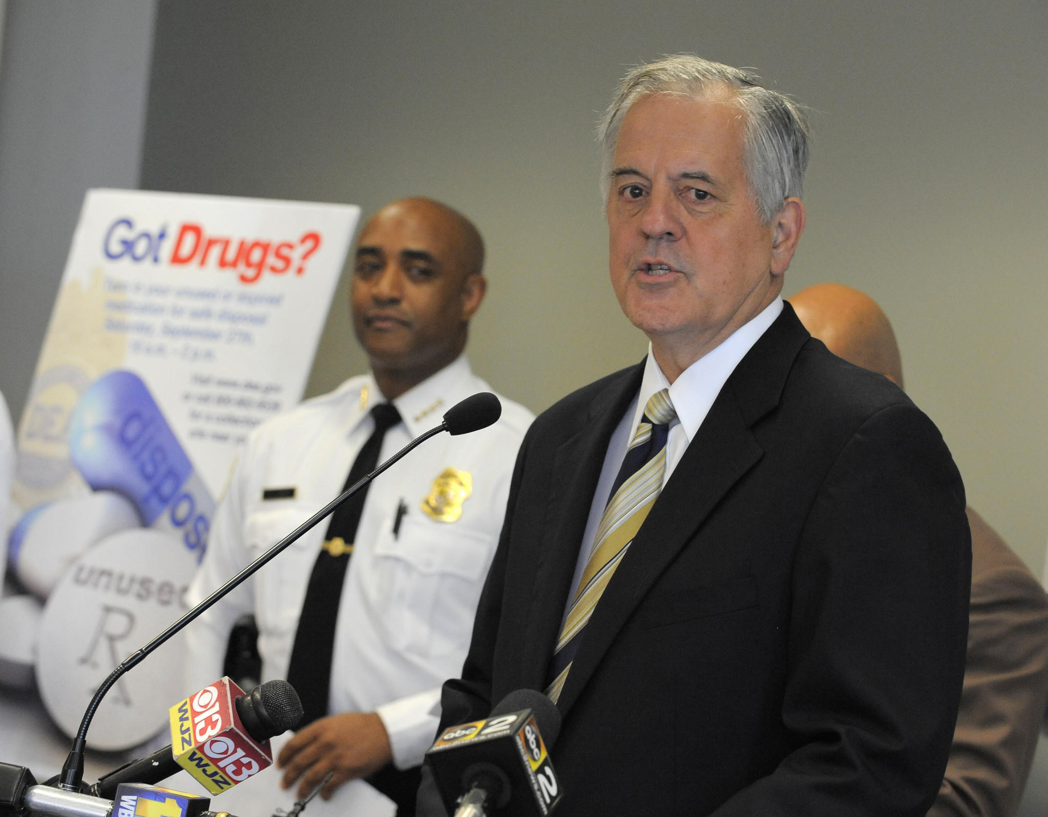 Baltimore,MD--9/24/14--Bernard J. McBride the CEO and President of Behavioral Health System Baltimore speaks about the Drug Take-Back program. Baltimore Police Commissioner Anthony Batts (L). Federal and local law enforcement officials, elected officials and public health officials speak to the media about National Prescription Drug Take-Back Day, which takes place Sept. 27, 2014. This effort seeks to educate the public to safely dispose of their unneeded prescription drugs to reduce the chance that others will steal or abuse them. Lloyd Fox/Sun Photographer #3531