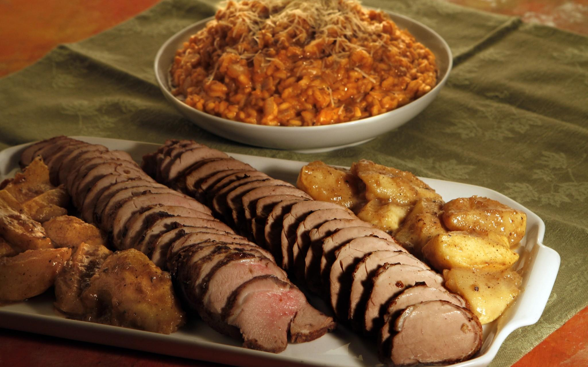 Recipe: Spiced pork tenderloin with roasted apples and pumpkin risotto ...