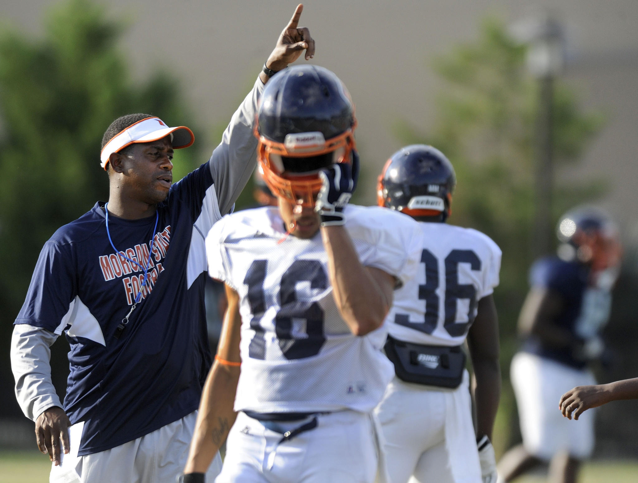 Morgan State coach Lee Hull gestures to his team during a recent practice.