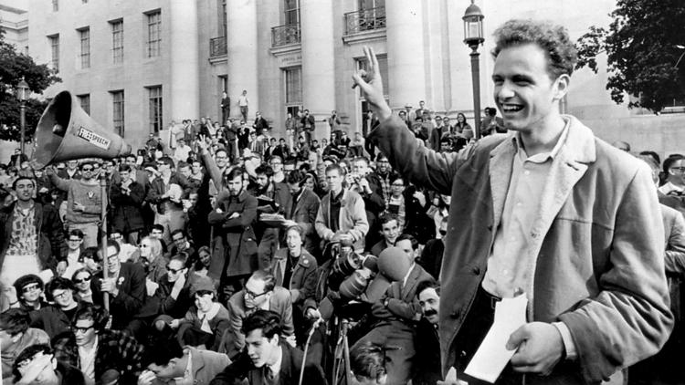Mario Savio leads a student protest at UC Berkeley in 1964, Associated Press photo