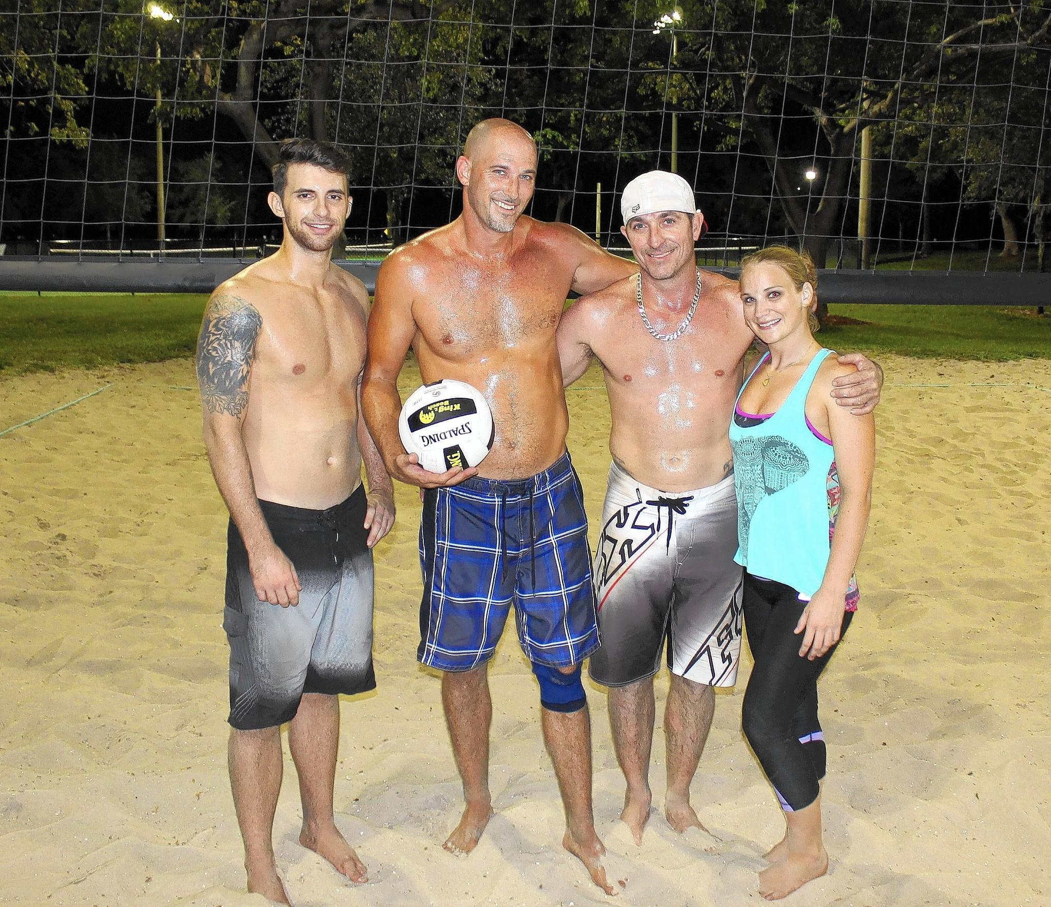 The Village Pump sand volleyball team claimed the Spring/Summer Pompano Beach co-ed adult Tuesday night league championship at Pompano Community Park by defeating Fourlokos 21-13, 21-18 to finish 11-4. Pictured are, from left, Ben Harris, Ted Stefanich, Marshall Bates, Danielle Michaels.