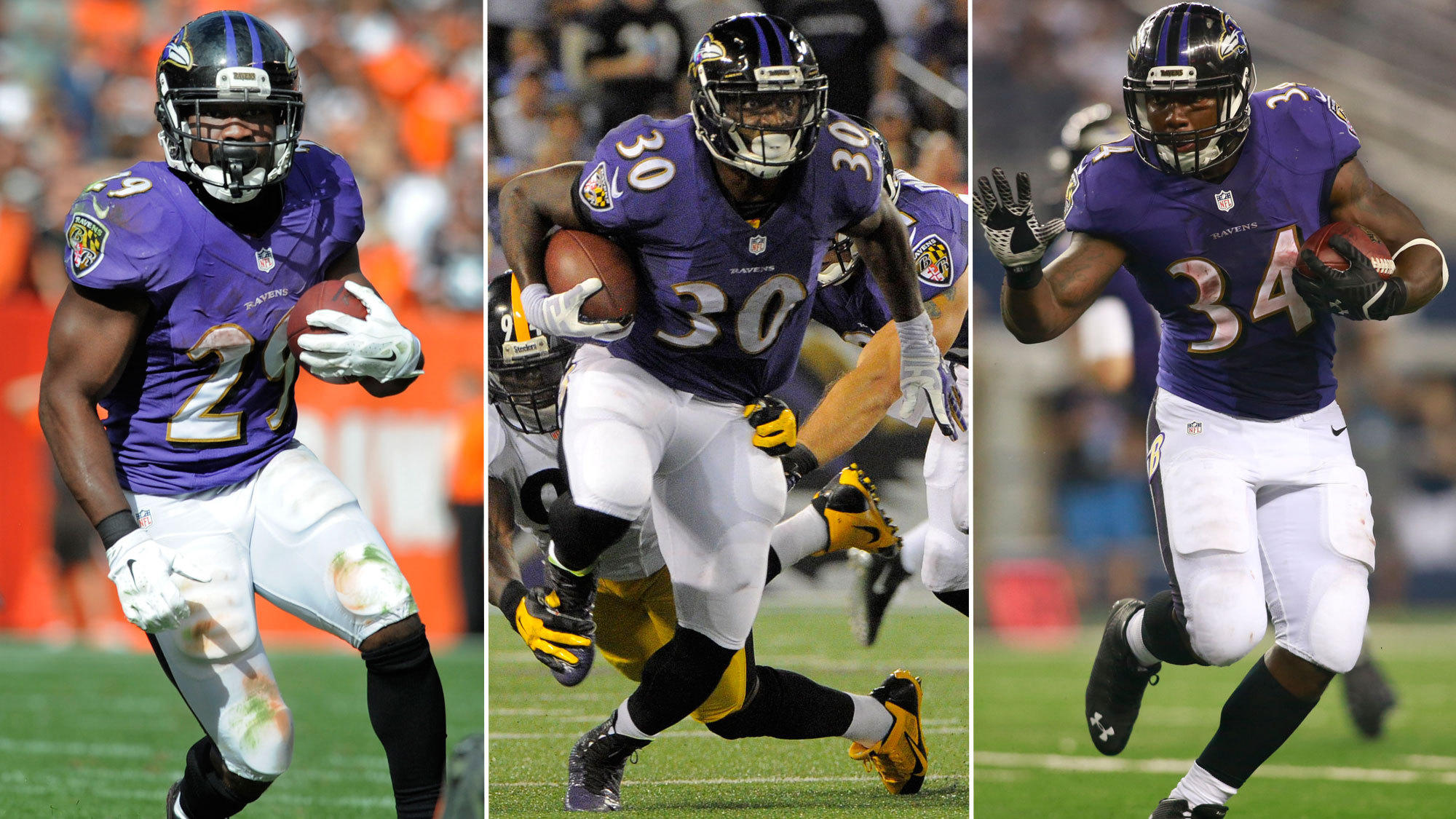 From left to right: Justin Forsett, Bernard Pierce and Lorenzo Taliaferro will split carries against the Carolina Panthers.
