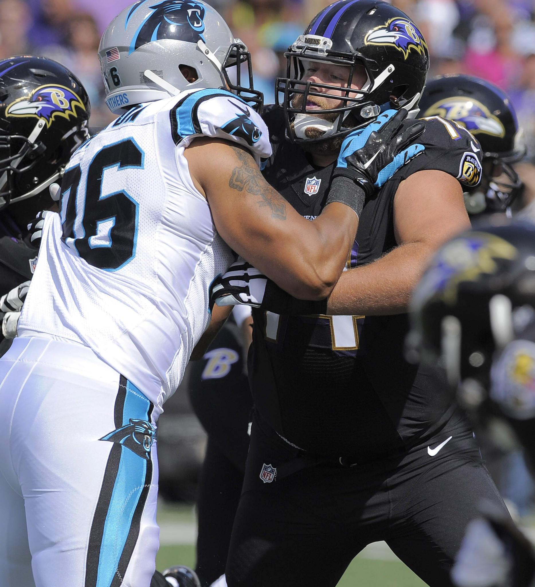 Ravens left tackle James Hurst blocks in the first quarter against the Carolina Panthers at M&T Bank Stadium.