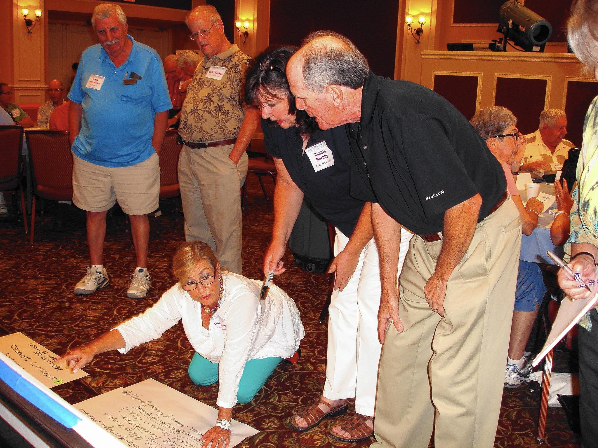 COBWRA members discuss changes they want made to the Ag Reserve plan during a recent meeting.