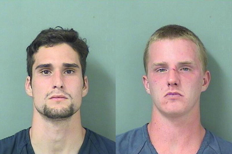 From left, Jonathan Hampton, 25, of Sussex, NJ, and Stephen Sandoz, 24, of Baltimore, Maryland, are accused of trying to extort a woman for $100 in Boynton Beach.