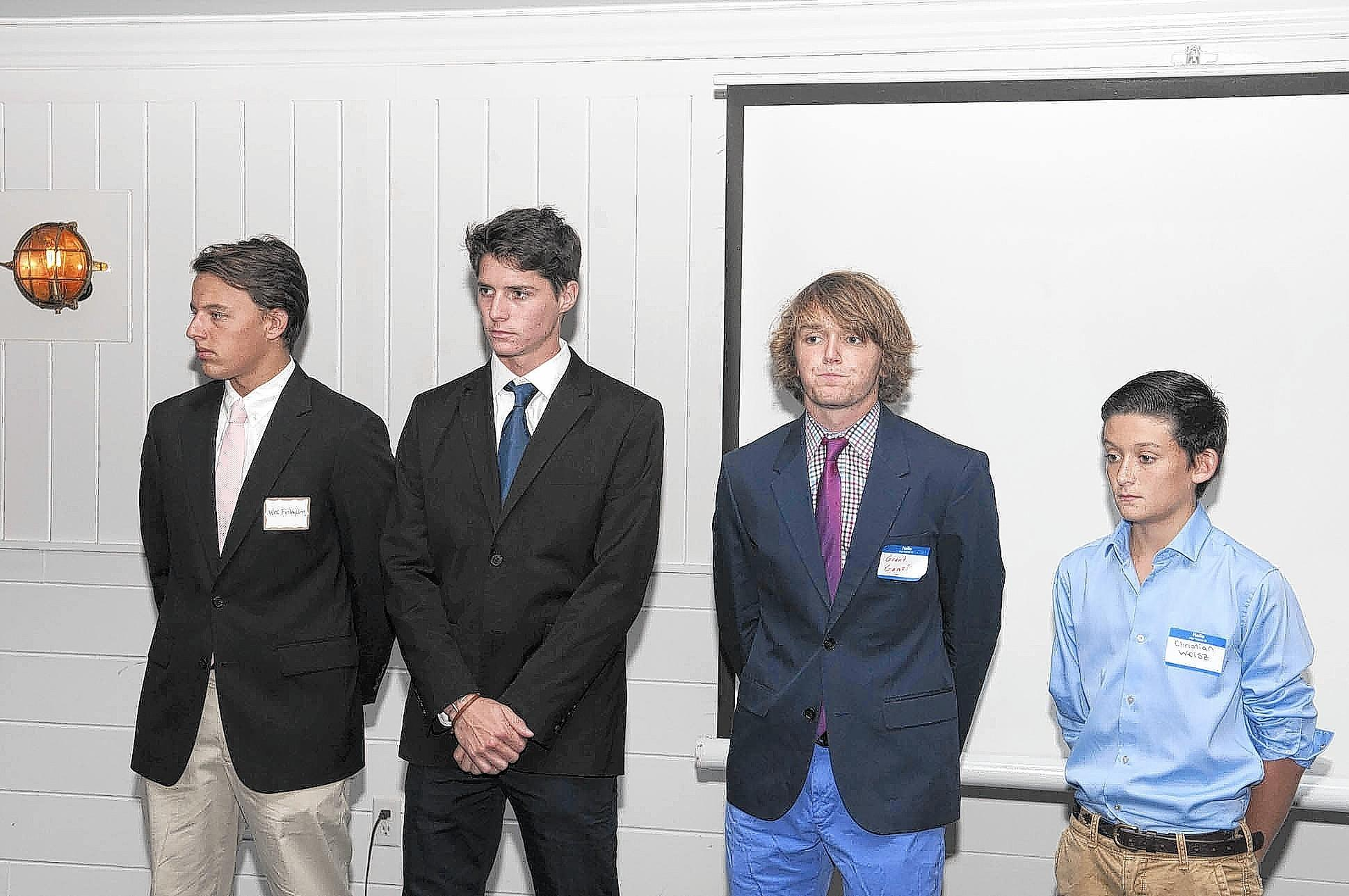 From right Wes Finlayson, Juan Bollini, Grant Ganzi, and Christian Weisz are honored for winning the National Youth Tournament, during the State of the Village, which took place at the Wanderers club in Wellington on Sept. 24.
