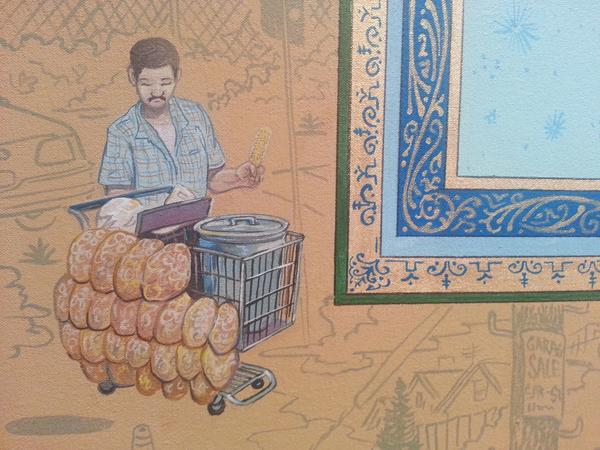 A detail of Sandow Birk's painting