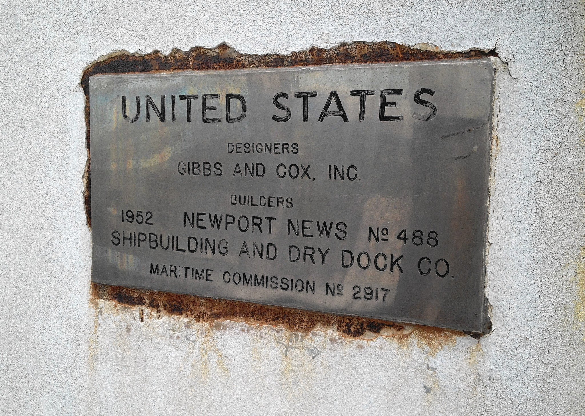 A plaque on the ship displays the Newport News shipyard's role as builder of the United States, which still holds the record among ocean liners for the fastest journey across the Atlantic.