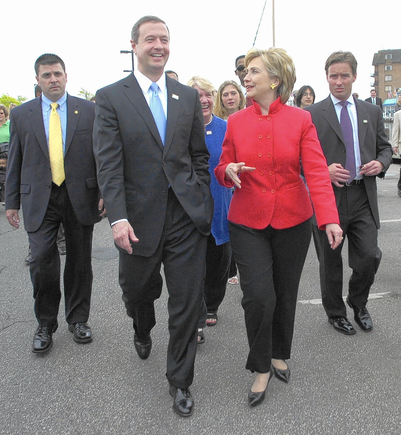 Gov. Martin O'Malley walks with then-Sen. Hillary Clinton in 2007 during a campaign event.
