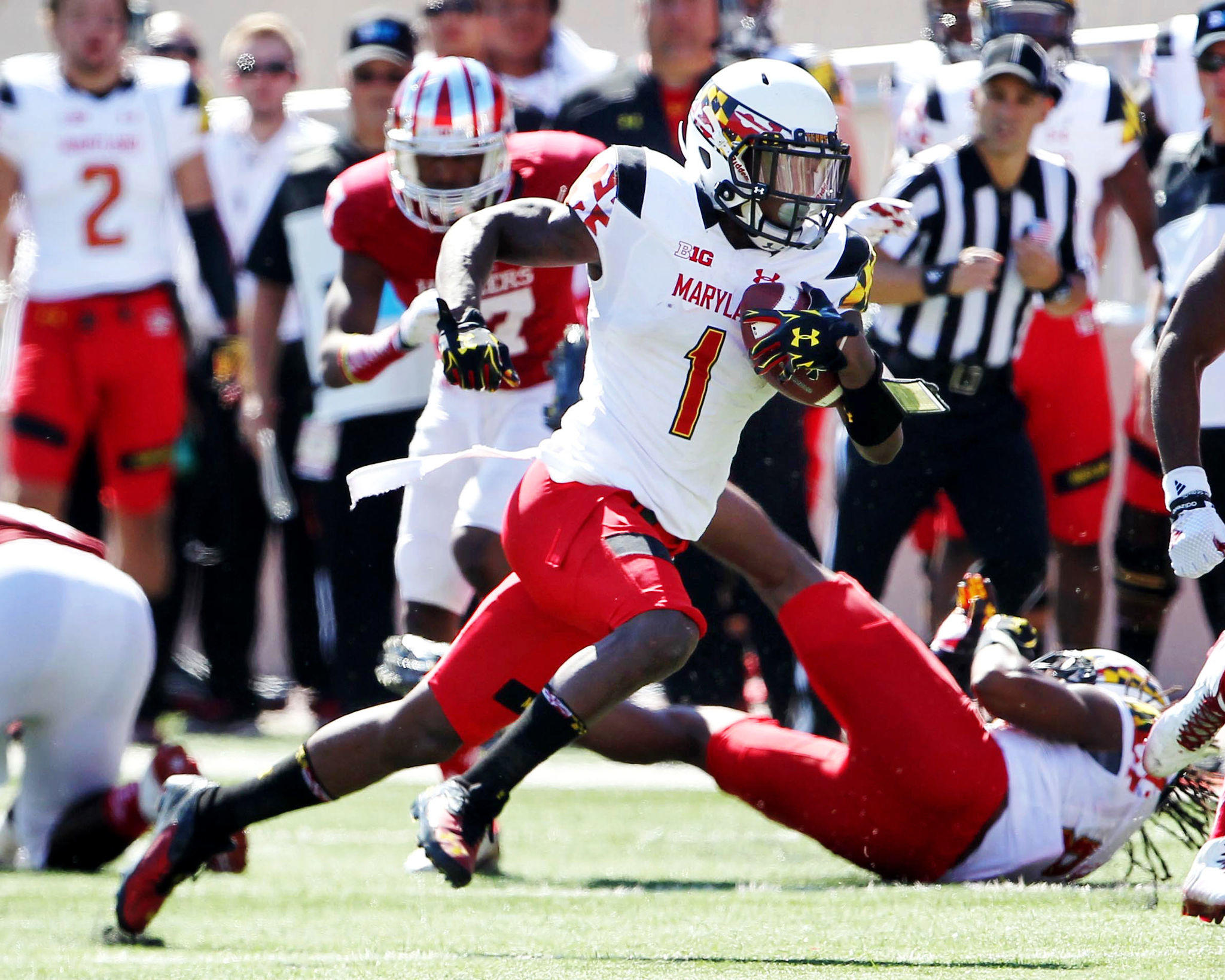 Maryland wide receiver Stefon Diggs runs the ball during the second quarter against the Indiana Hoosiers at Memorial Stadium.