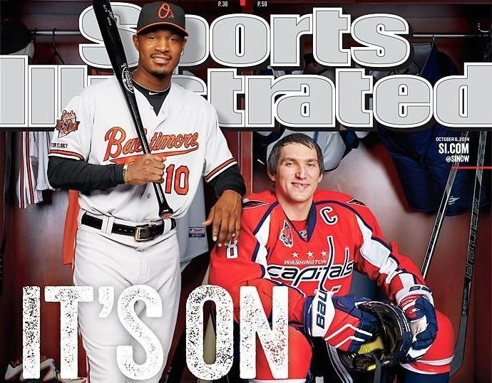 Orioles center fielder Adam Jones and Washington Capitals captain Alex Ovechkin are featured on a cover of this week's Sports Illustrated.
