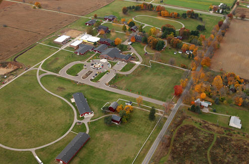 An aerial shot of the Gilmore Car Museum located in Hickory Corners, Mich.The area still has a rugged, old-fashioned, vacation feel to it, as do the expansive barns on the 90-acre museum.