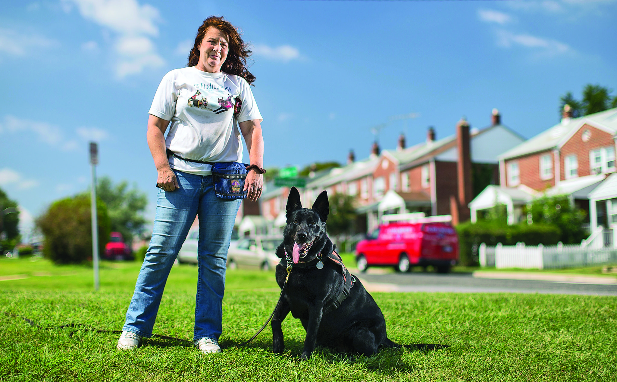 Anne Wills, founder of Dogs Finding Dogs, with Heidi, her German Shepard-Lab mix tracking dog. Dogs Finding Dogs is training Howard County volunteer teams to locate lost pets with trained tracking dogs.