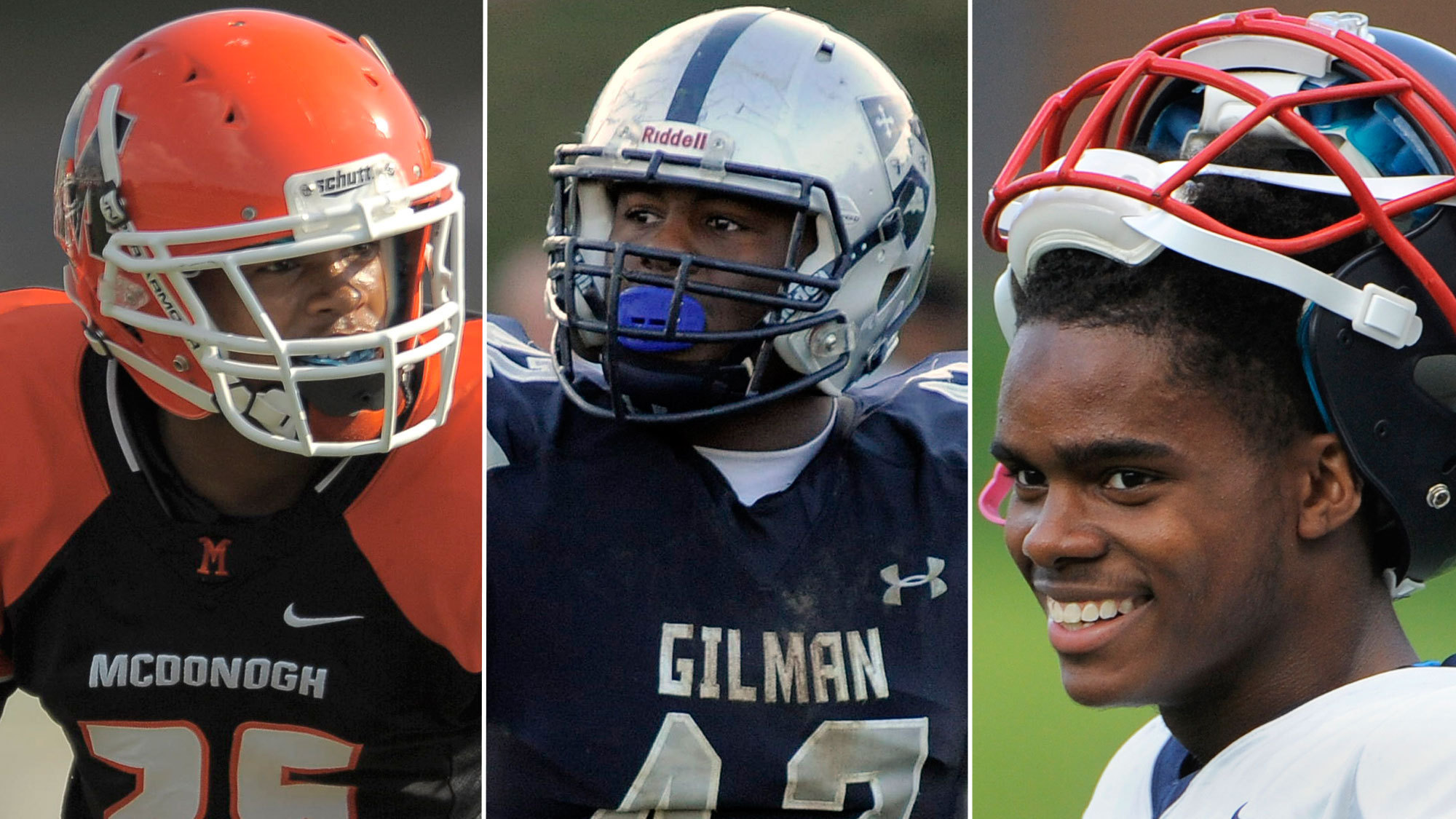 Left to right: Eric Burrell (McDonogh), Ellison Jordan (Gilman) and Steven Smothers (Franklin).