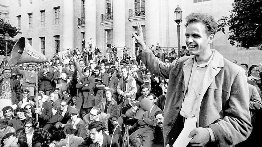 Mario Savio gestures during a 1964 Free Speech Movement rally at UC Berkeley.