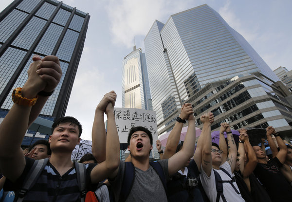 Democracy protests overshadow China's National Day ceremonies in Hong Kong