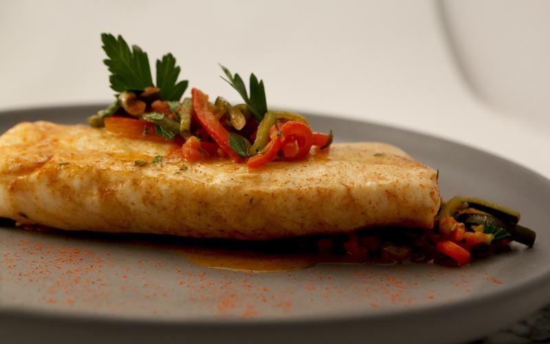 Roasted fillet of white sea bass en escabeche
