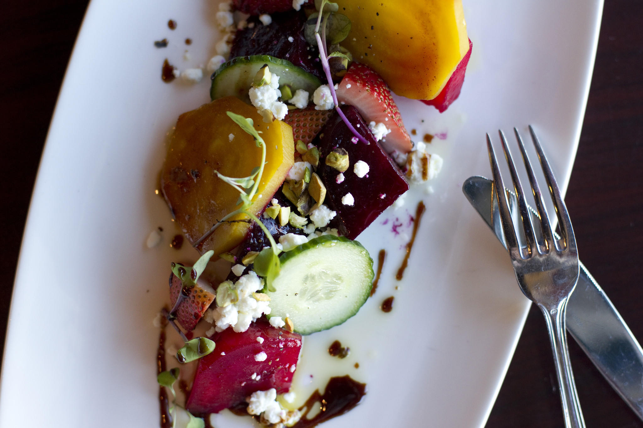 Roasted beets and goat cheese with pomegranate molasses and fennel salt at Lib's Grill in Perry Hall, MD on Wednesday, April 16, 2014.