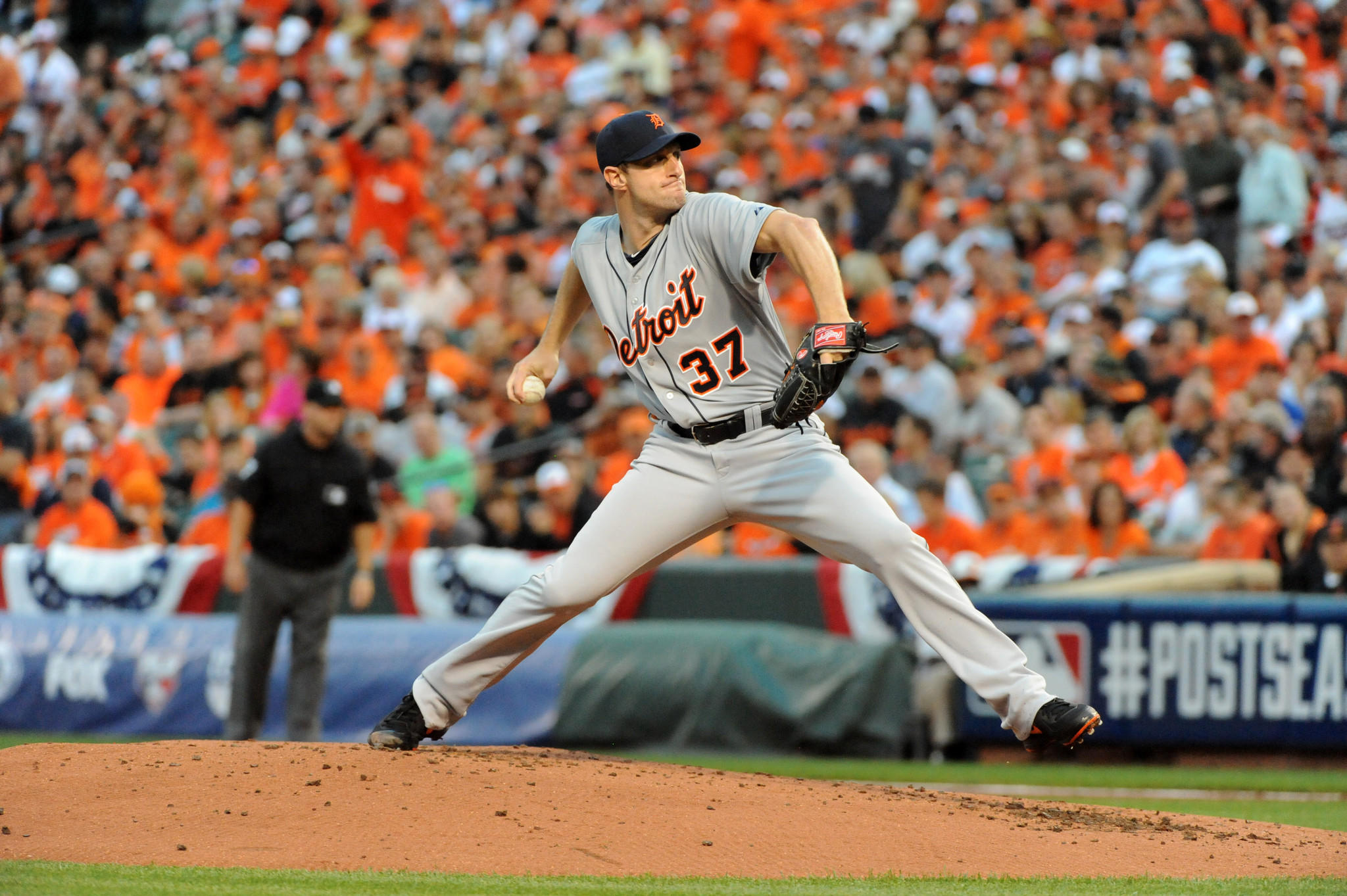 Max Scherzer pitches during the second inning of Game 1 of the ALDS between the Orioles and Tigers.