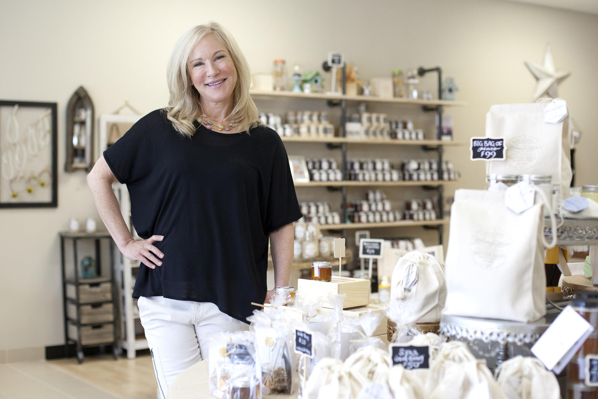Honey House's Kara Brook poses for a photo at her shop in Owings Mills.