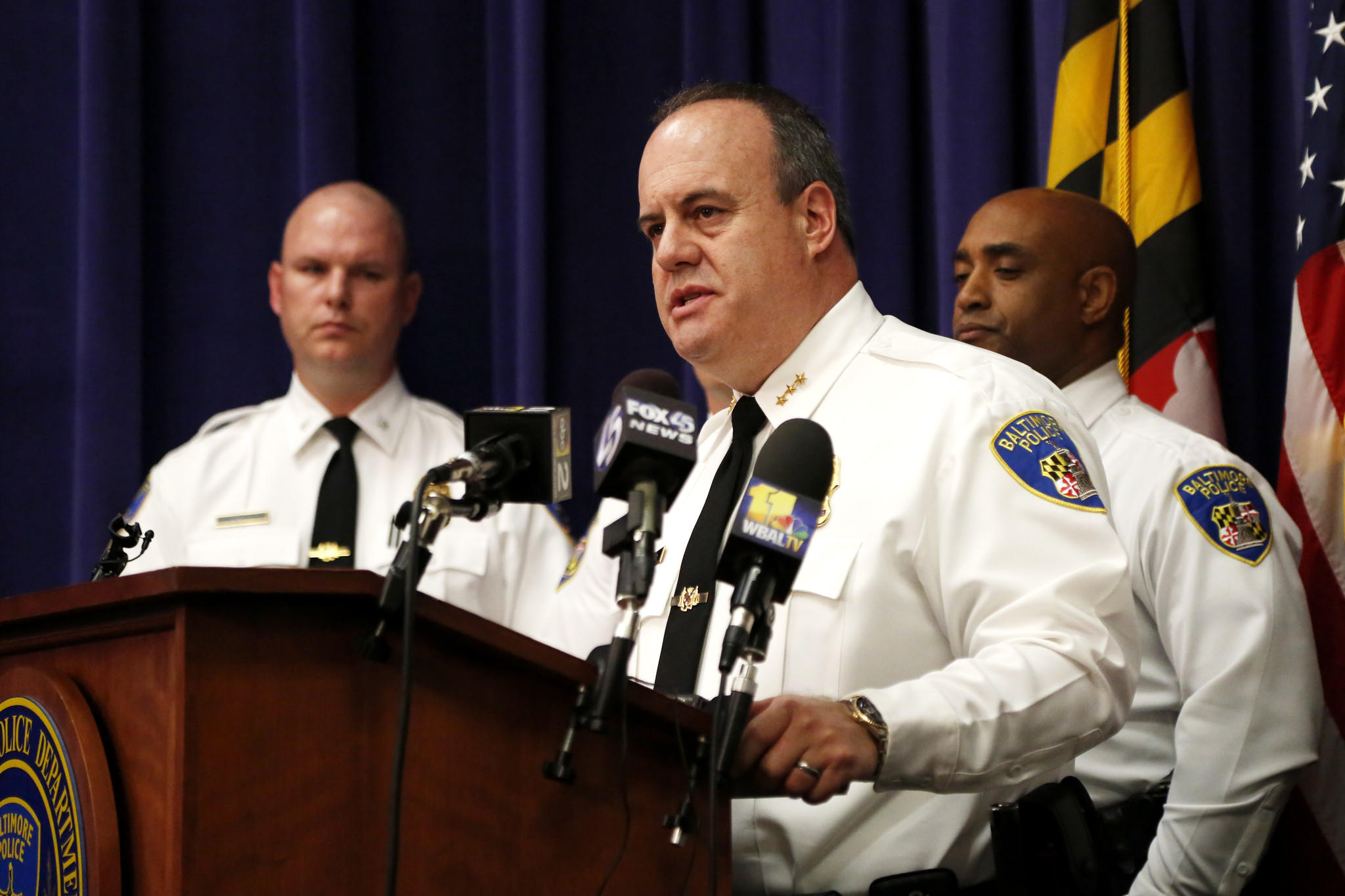 Deputy Police Commissioner Jerry Rodriguez speaks during the press conference held on Friday regarding police conduct at Police Headquarters.