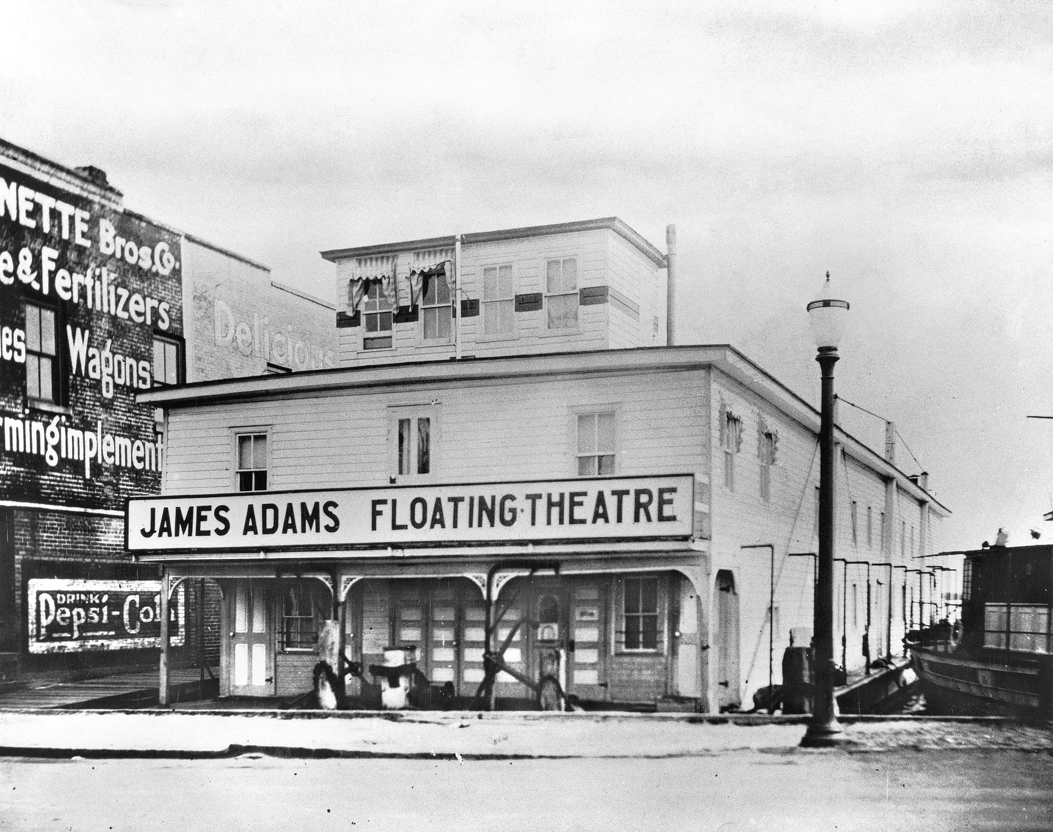 The James Adams Floating Theatre toured the waterfront towns of North Carolina, Virginia and Maryland for 37 weeks each year beginning in 1914. Its 14-inch draft enabled it to pull right up to the town docks even in places located on shallow rivers and creeks.