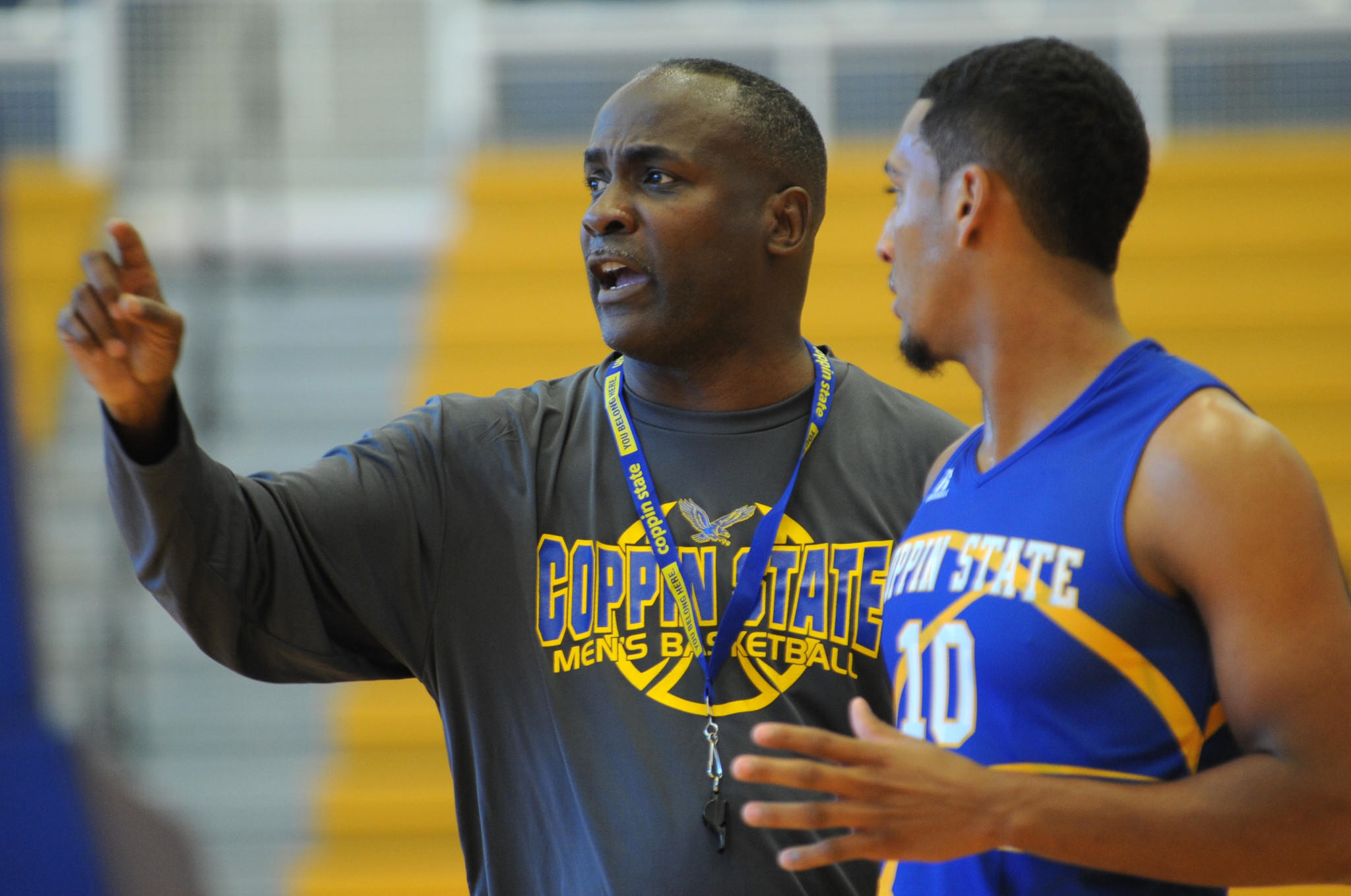 Michael Grant holds his first practice as Coppin State men's basketball coach.