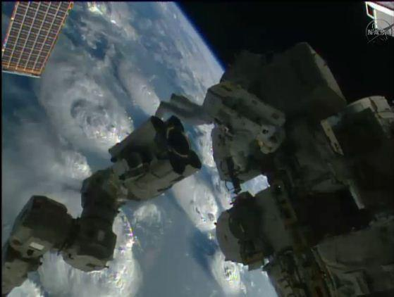 Astronauts Reid Wiseman and Alexander Gerst embarked on a space walk Tuesday.