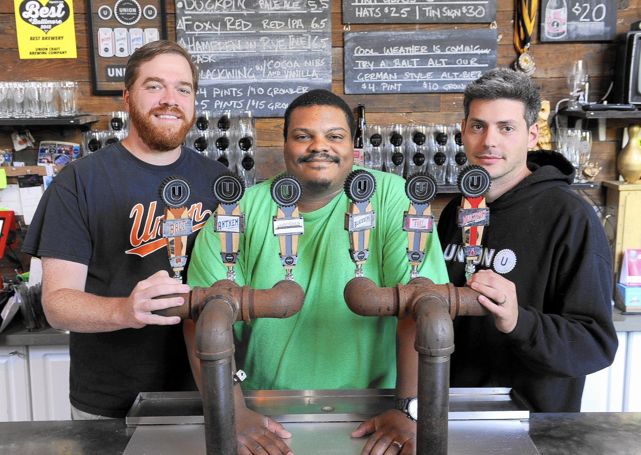 The founders of Union Craft Brewing Company. Left to right: Adam Benesch, Kevin Blodger and Jon Zerivitz.