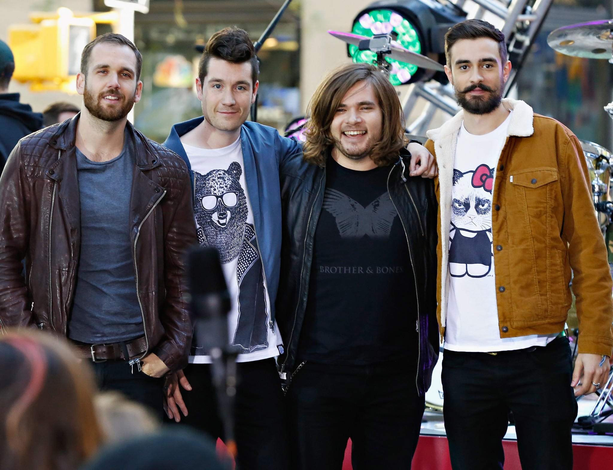 "L-R: Will Farquarson, Dan Smith, Chris ""Woody"" Wood and Kyle Simmons of Bastille pose for a photo after performing on NBC's ""Today"" in New York earlier this week."