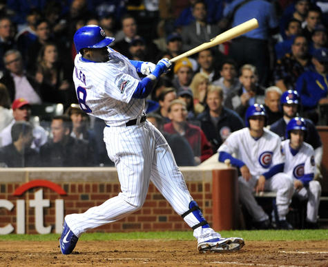 Jorge Soler hits an RBI single against the Dodgers during the fifth inning.