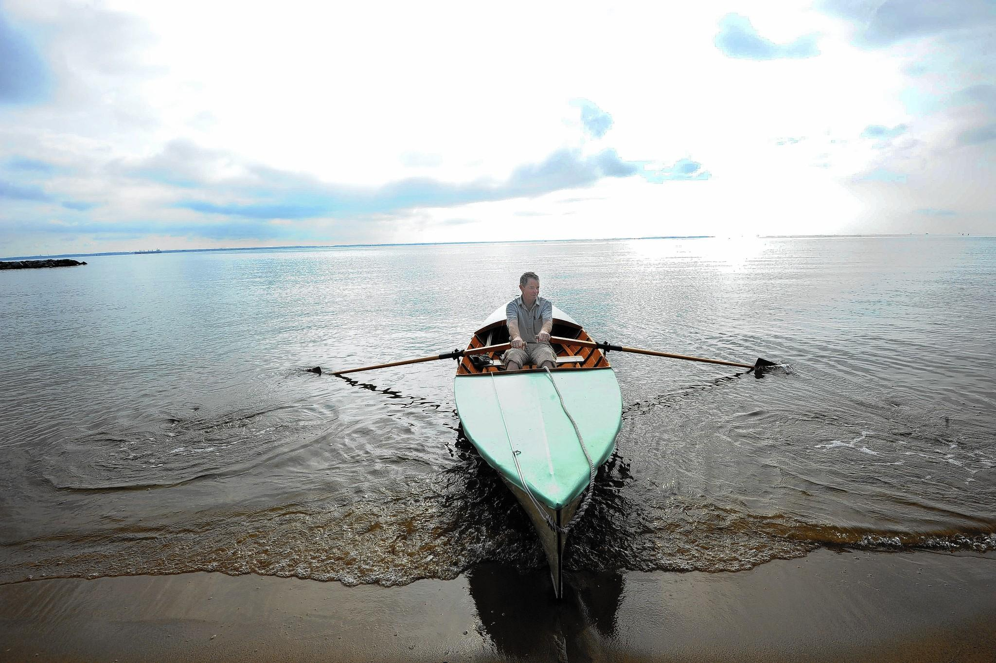 Andy Teeling in the waters behind the Chesapeake Bay Foundation near Annapolis, where he camped on his boat after finishing his rowing trip around the Delmarva Peninsula - after a 35-year hiatus.