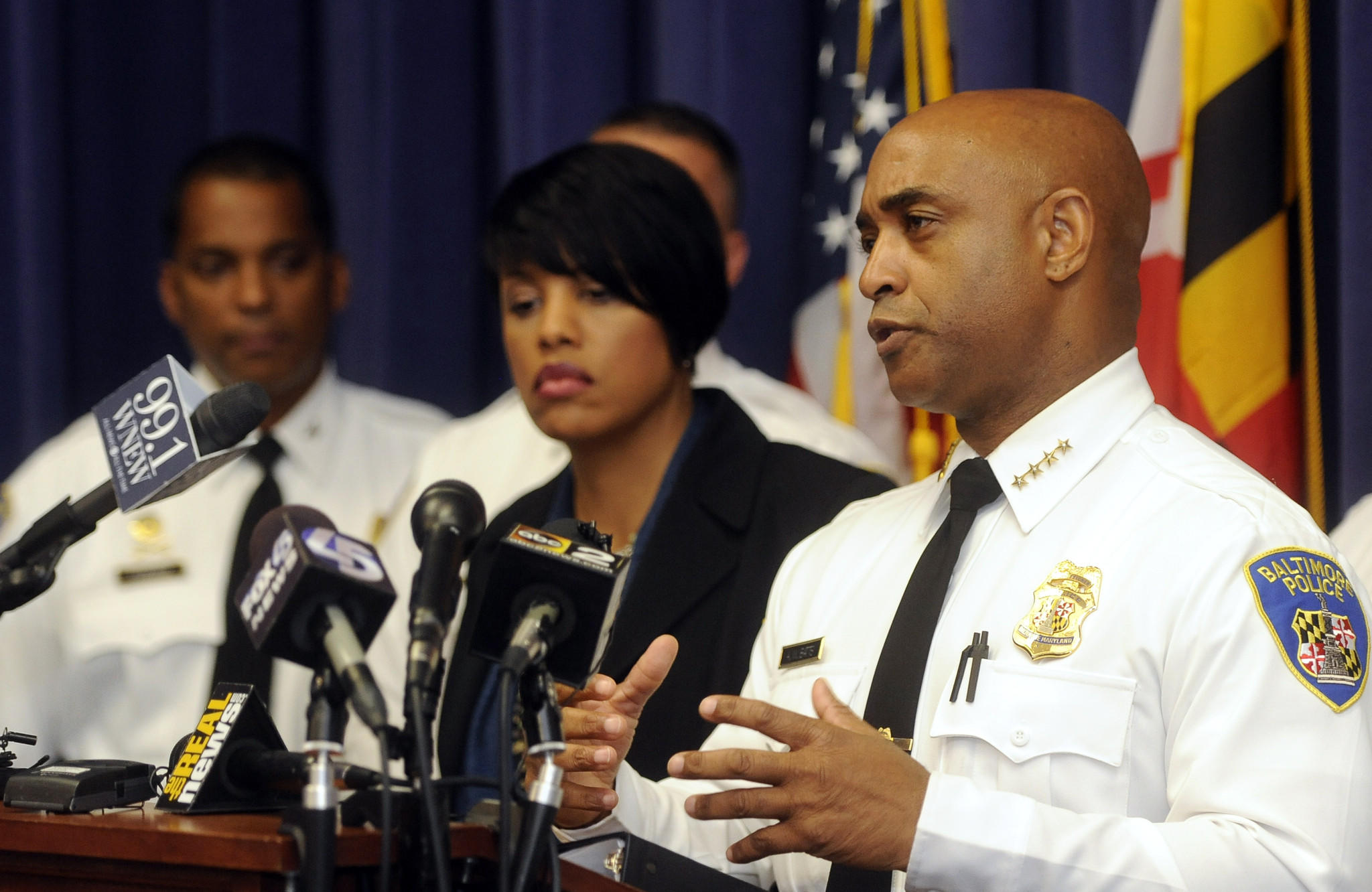 Baltimore Mayor Stephanie Rawlings-Blake, left, and Police Commissioner Anthony W. Batts, right, discuss an upcoming federal review of the police department.