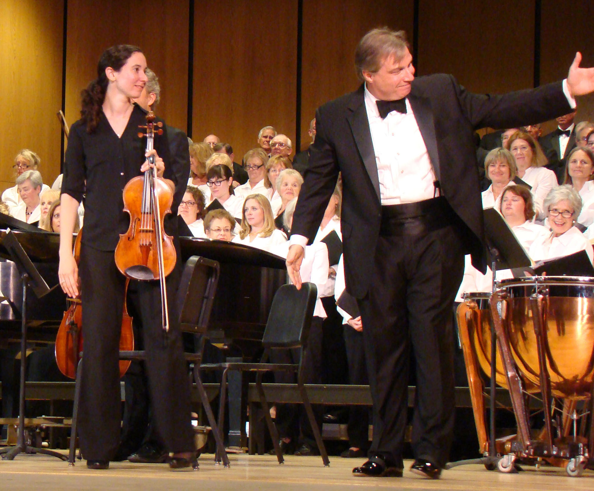 J. Ernest Green, right, with Annapolis Symphony Orchester principal viola Sarah Hart, recognizes performers during the Sept. 28 concert at Maryland Hall for the Creative Arts.
