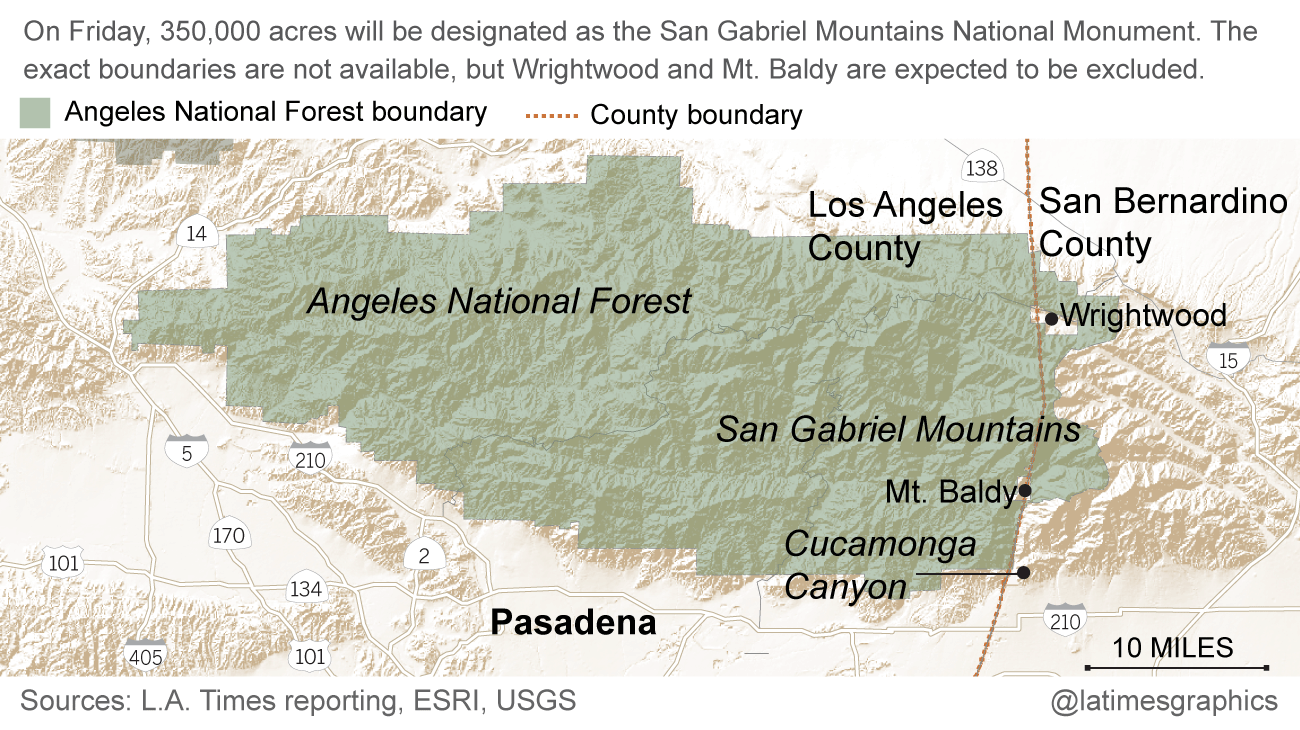 Obama To Publicly Name San Gabriel Mountains A National Monument - San gabriels on us map