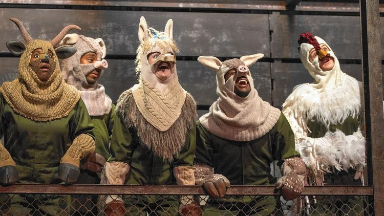 Cast members of 'Animal Farm,' a new adaptation for Steppenwolf Theatre Company's Young Adult program.
