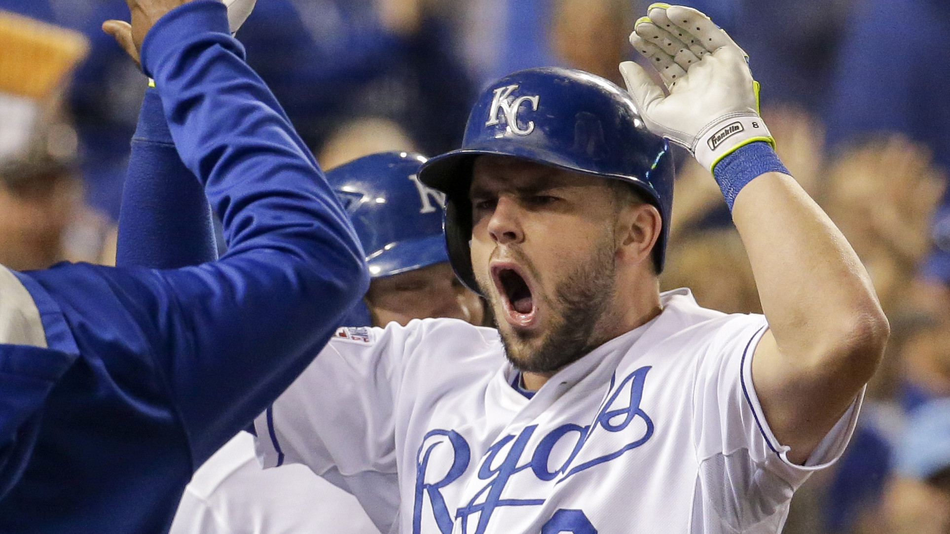 Image result for mike moustakas happy