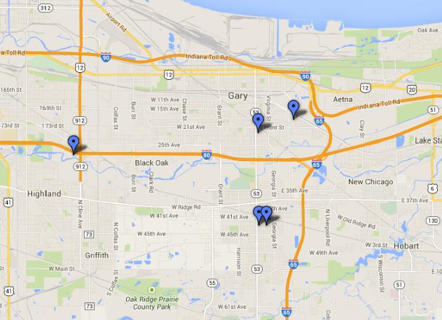 Map Women found dead in Gary Hammond Chicago Tribune