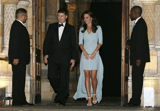 Catherine, Duchess of Cambridge, walks with museum director Michael Dixon as she leaves the Natural History Museum, for which she is patron, after attending the Wildlife Photographer of The Year 2014 Awards Ceremony on Oct. 21, 2014, in London.